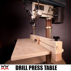 Make a Drill Press Table to Improve Your Workshop's Efficiency. – Woodworking for Mere Mortals Woodworking Drill Press, Woodworking Jig Plans, Woodworking For Mere Mortals, Cool Woodworking Projects, Woodworking Furniture, Woodworking Shop, Drill Press Stand, Drill Press Table, Wood Shop Projects