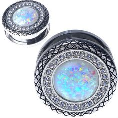 9543aa74e Stainless Steel Button With Synthetic White Opal center and CZ Gems Screw  Back Ear Gauges (Pair)
