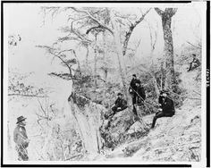 General Ulysses S. Grant and five other men on Lookout Mountain, Tennessee, 1863