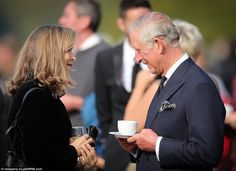The Prince of Wales had afternoon tea and spoke with friends and family of the Dowager during the celebration at Chatsworth House