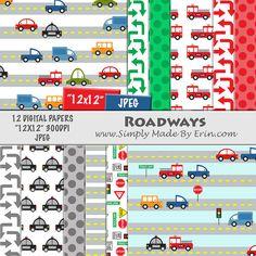 Car Digital Paper - Digital Scrapbook Paper Pack - Automobile Digital Paper - 12x12 Digital Paper Pack
