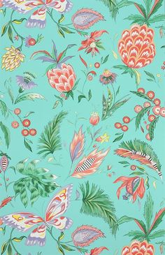 Habanera Wallpaper in Jade, Coral, and Lavender by Matthew Williamson for Osborne & Little