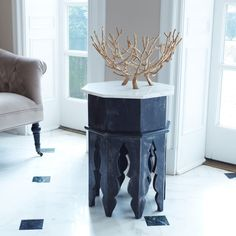 Marble And Wood Moroccan Side Table - Furniture - Living Room - Side Tables - Wisteria Morrocan Table, Moroccan Side Table, Moroccan Decor Living Room, Morrocan Decor, Moroccan Furniture, Table Furniture, Living Room Furniture, Marble Wood, Eclectic Decor