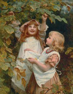 berry pickin' - Frederick Morgan; British painter of portraits, country scenes, animals; born London