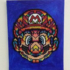 Super mario on canvas perler beads (Original design: Van Orton Design) by dolcepeter