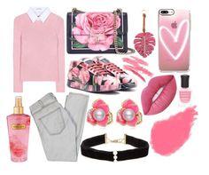 """Pink Floral Delight"" by elisenotelsie ❤ liked on Polyvore featuring Altuzarra, Current/Elliott, Dolce&Gabbana, Lime Crime, Victoria's Secret, Valentino, Casetify, Anissa Kermiche, Deborah Lippmann and Yves Saint Laurent"