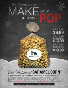 Personalized gift for the Holidays! Give customers, vendors, suppliers, or employees the gift of homemade caramel corn with your company logo! A great way to promote your business! www.GoHavenSolutions.com / (888) 350-8281