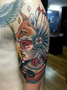 Native american fox tattoo