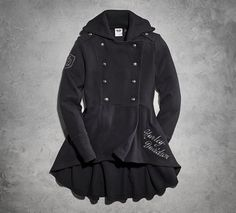 The Peacoat with Military Influence stands at attention in cool weather. Inspired details include double-breasted with wide lapels and shoulder epaulets. To keep it feminine, we incorporate a high-low hem and button tab peplum for a fuller look. Layer it over leggings and a scarf.