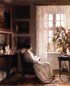 Reading in the Morning Light. by the painter Carl Vilhelm Holsoe, Danish, 1863-1935.