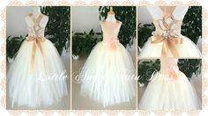 Champagne and White  Flower Girl Dress – Floor Length Bridesmaid Tutu  – Princess Handmade Wedding Gown - Age 2 3 4 5 6 7 8 9 10 11 by LittleAngelTutuDress on Etsy https://www.etsy.com/listing/243674751/champagne-and-white-flower-girl-dress