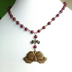 Owl Necklace With Red Glass Beads. Vintage by Bluebirdsanddaisies