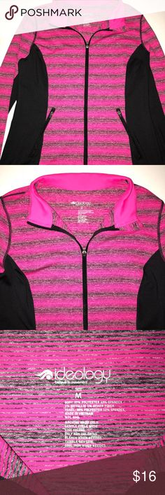 Pink athletic zip up sweatshirt Super cute athletic zip up sweatshirt. Cute pink and black colors with grey and silver mixed in. Worn once! Ideology Tops Sweatshirts & Hoodies