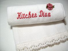 Mother's Day Gift Embroidered Kitchen Towel by IdasBrooklynBarn, $7.50
