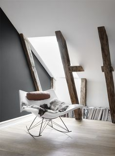 Find out why modern living room design is the way to go! A living room design to make any living room decor ideas be the brightest of them all. European Home Decor, Interior Decorating, Interior Design, New Furniture, Rocking Chair, Scandinavian Design, Chair Design, Interior Inspiration, Interior And Exterior