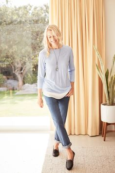 ebe037485861 Simple shapes in calming blues (featuring J.Jill's Crew-Neck Mixed-Media