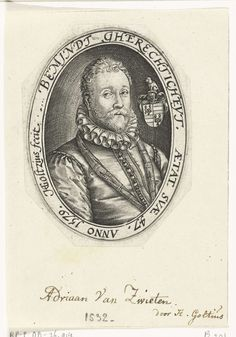 Hendrick Goltzius | Portret van Adriaen van Swieten, Hendrick Goltzius, 1579 | Portret van Adriaen (Adriaan) van Swieten (1532-1584), de zoon van Cornelis en Anna van Borssele, op 47-jarige leeftijd (1579). Buste, gekleed in wambuis met geplooide kraag, in ovaal met randschrift. Rechts van zijn hoofd zijn familiewapen: 1,4: Swieten; 3,4: Borssele. Hij was heer van Swieten / 1565: Hoogheemraad van Rijnland; 1574: ridderschap van Holland. Gouverneur van Gouda en Oudewater en bevelhebber onder…