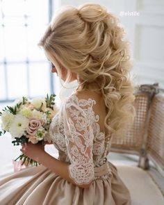 Wedding dress and hairstyle idea via Elstile / http://www.deerpearlflowers.com/26-perfect-wedding-hairstyles-with-glam/