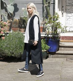 Blogger, ootd , Outfit, Spring, Long Vest, Sneaker, Superga, fashion