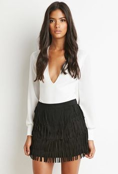 Fringed Faux Suede Skirt - Skirts - 2000143151 - Forever 21 EU English