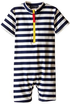 50d60875b0 Toobydoo Yellow Zip Short Sleeve Sunsuit Boy's Swimsuits One Piece White  Boys, Navy And White