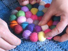 making of felt ball rug