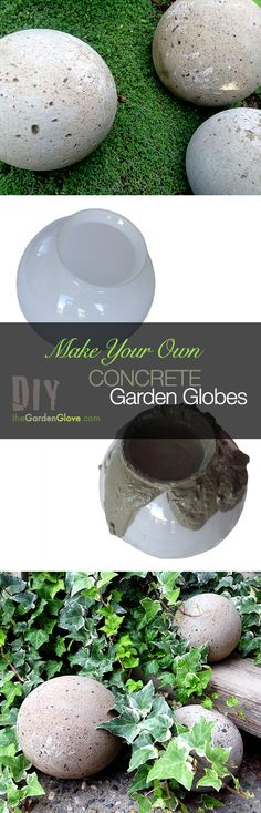 DIY Concrete Garden Globes - Make your own concrete garden globes using old glass light shades for molds!..spray with glow in the dark paint!!!!!!