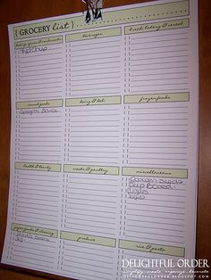 i love the idea of a pre-printed grocery list form with the different sections of the store!! totally gotta do this.