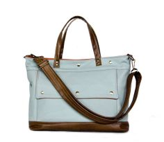 Leather Laptop Briefcase in Surf Sky Blue and Brown Leather - Archive Bag - Spring Pop - Made to Order