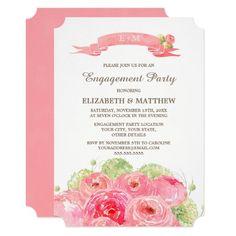 Romantic Pink Rose Watercolor Painting Design Personalized Engagement Party Invitations. Customize the names, date, text and all details of your Invitations. Matching Wedding Party Invitations, Bridal Shower Invitations, Save the Date Cards, Wedding Postage Stamps, Bridesmaid to be Request Cards, Thank You Cards and other Wedding Stationery and Wedding Favors and Gifts available in the Floral Design Category of the Best Day Ever store at zazzle.com