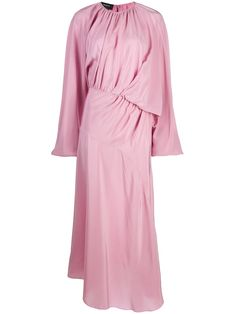 Pink Silk, Pale Pink, Pink Midi Dress, Mid Length, World Of Fashion, Women Wear, Long Sleeve, Sleeves, Fashion Design