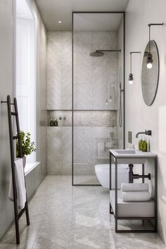 13 Rental Renovations You Can Probably Get Away With - bathroom - badezimmer Bathroom Layout, Modern Bathroom Design, Bathroom Interior Design, Bathroom Ideas, Bath Ideas, Bathroom Storage, Chevron Bathroom, Modern Bathtub, Condo Bathroom