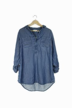 011b9ce03d4 Extra Off Coupon So Cheap Papaya blue denim look summer shirt Size 12