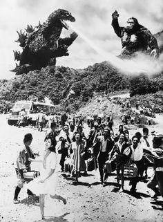 gunsandposes:  A publicity still for King Kong vs. Godzilla, aka...