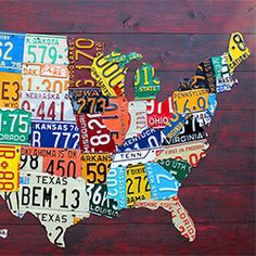Design Turnpike sparks creativity with their hand crafted U.S. map made from license plates.