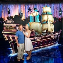 The Neverland Jolly Roger Ship Prop features the look of Captain Hook's trusty ship. Each Jolly Roger Ship Prop measures 6 feet high x 14 feet wide. Cruise Ship Party, Neverland Map, Ship Mast, Navy Ball, Pool Party Themes, Mermaid Pool, Pirate Fairy, Dance Themes, Pirate Adventure