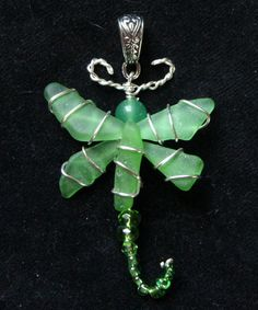 Sea Glass Dragonfly Pendant with Green Sea Glass by oceansbounty