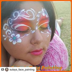 What a lovely young lady...and such an elegant design. #Repost @sulays_face_painting with @repostapp ・・・ #facepainting #colorful #sillyfarm#shareyourfacepaint