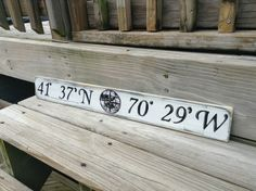 Beach Nautical Sign Custom Latitude and Longitude Wall Decor ($29.99)