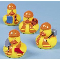 One Dozen (12) Construction Worker Rubber Ducky Party Favors OTC: Great party favors/decor. Would be fun to put them in a pool for a game...