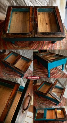 Reclaimed Window Coffee table Teal Reclaimed windows available at Sleepy Poet for hanging mirror shelf Furniture Projects, Furniture Makeover, Home Projects, Diy Furniture, Antique Furniture, Pallet Projects, Repurposed Furniture, Painted Furniture, Repurposed Wood