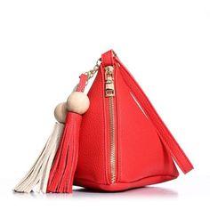ROSCH Brand Triangle Shape Women Day Clutch Women Evening Bag PU Leather Wristlet Purses Tassel Small Handbags Herald Fashion