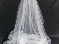 Caitlin IV a Swarovski Crystal Rhinestone Sheer 125 Inch Long Cathedral Length Veil with Blusher