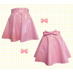 Pastel Pink Pvc Skater Skirt With Removable Bow Back (27.125 CLP) ❤ liked on Polyvore featuring skirts, light pink, women's clothing, bow skirt, pastel skater skirt, pink skirt, high waisted flared skirt and light pink skirt