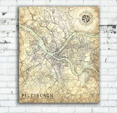 NASHVILLE TN Canvas Print Tennessee TN Vintage Map Nashville - Usa map with states pittsburgh