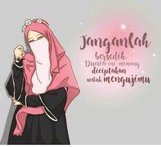 Gambar Kartun Muslimah Girl Cartoon, Cute Cartoon, Cartoon Art, Quran Quotes Love, Cute Quotes, Text Quotes, Cartoon Quotes, Cartoon Images, Hijab Drawing