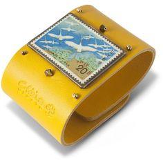 Clizia Ornato Tabi Yellow Leather Cuff ($160) ❤ liked on Polyvore