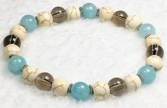 ~ Bracelets by Karen ~ Blue Quartz, Magnesite and Smoky Quartz with Silver Spacers