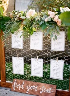 Chicken Wire Seating Chart // rustic wedding, summer, outdoor, greenery, blush, boho, vintage