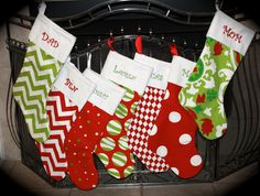 Set of 3 Personalized Christmas Stockings- You Pick-Monogrammed FREE. $78.00, via Etsy.